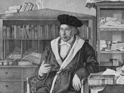 Hegel zu Besuch in der Buchhandlung Weltbühne, weil hier der Weltgeist zu sich selbst findet